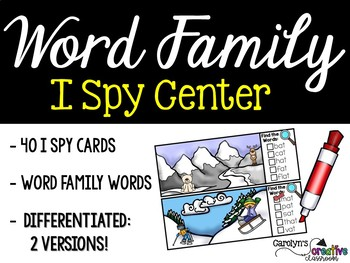 I Spy Word Family Words Literacy Center - Winter Edition