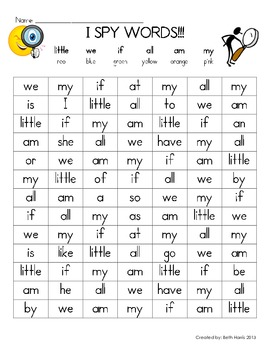I Spy Words~ little, we, if, all, am, my