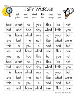 I Spy Words~ but, not, had,  this, what, you