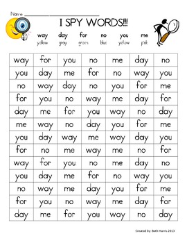 I Spy Words~ you, way, day, for, me, no