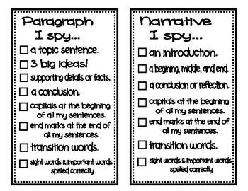 I Spy Writing Checklist