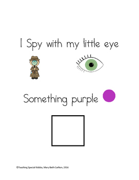 """Early Learner """"I Spy"""" at School Color Matching/ID Adapted Book"""