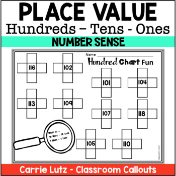 place value worksheets 3 digits 100 to 120 by carrie. Black Bedroom Furniture Sets. Home Design Ideas