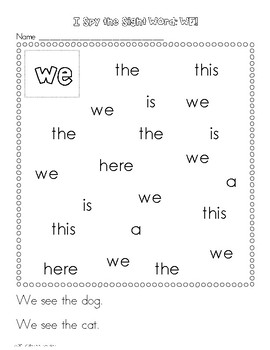 I Spy the Sight Word: WE