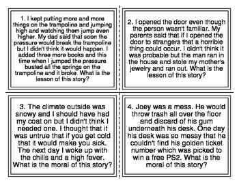 I-Station Vocabulary Moral Reading Task Cards