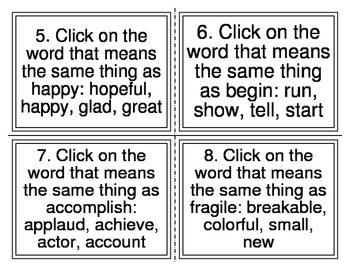 I-Station Vocabulary Synonym Task Cards (28 Cards)