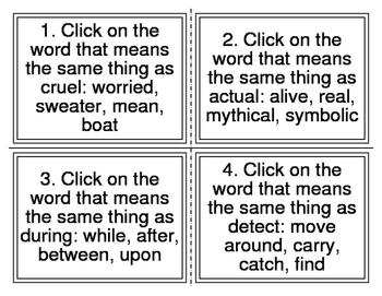 I-Station Vocabulary Synonym Task Cards (28 Cards)
