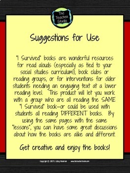 I Survived:  A Reading Response Resource for ANY I Survived Book!