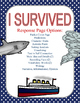 I Survived...Chapter Book Response Sheets (5 books 15 resp