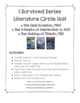 I Survived Nazi Invasion, September 11, and Titanic Literature Circle Unit