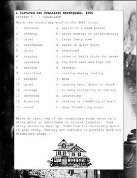 I Survived San Francisco Earthquake 1906, ELA Book Study Guide US History