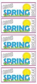 I Survived Spring Break Brag Tags and Bookmarks