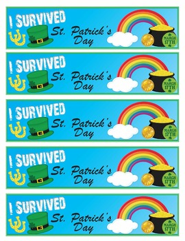 I Survived St. Patrick's Day Brag Tags and Bookmarks