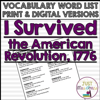 I Survived The American Revolution, 1776 Vocabulary Word List