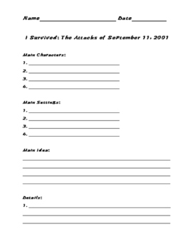 I Survived: The Attacks of September 11, 2001 Graphic Organizer