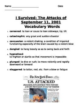 I Survived: The Attacks of September 11, 2001 reading packet