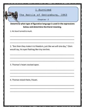 I Survived The Battle of Gettysburg, 1863 - FIGURATIVE LANGUAGE Activity