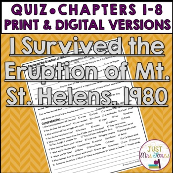 I Survived The Eruption of Mount St. Helens, 1980 Quiz (Ch. 1-8)