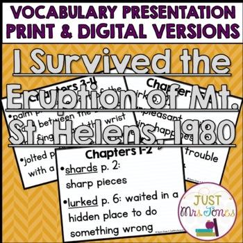 I Survived The Eruption of Mount St. Helens, 1980 Vocabulary Presentation