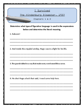 I Survived The Hindenburg Disaster, 1937- FIGURATIVE LANGUAGE Activity