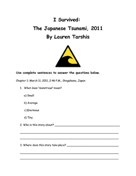 I Survived: The Japanese Tsunami, 2011 by Lauren Tarshis Comprehension Packet
