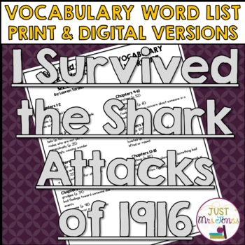 I Survived The Shark Attacks of 1916 Vocabulary Word List