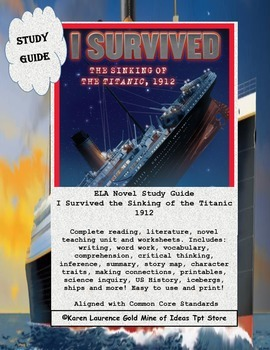 I Survived The Sinking of the Titanic, 1912  ELA Book Study Guide Printable