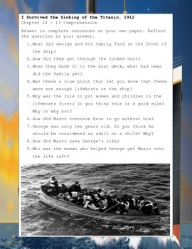 I Survived The Sinking of the Titanic, 1912  Tarshis Novel Study Guide Printable