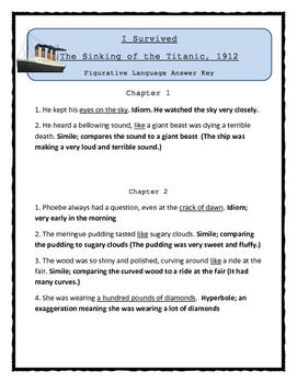 I Survived The Sinking of the Titanic, 1912 - FIGURATIVE LANGUAGE Activity