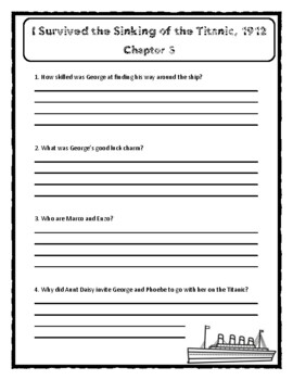 I Survived The Sinking of the Titanic, 1912 - Comprehension & Citing Evidence