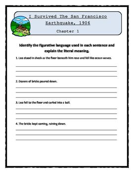 I Survived The San Francisco Earthquake, 1906 - FIGURATIVE LANGUAGE Activity