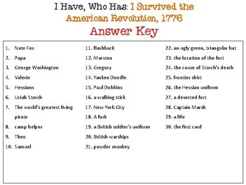 I Survived the American Revolution  1776 I Have Who Has