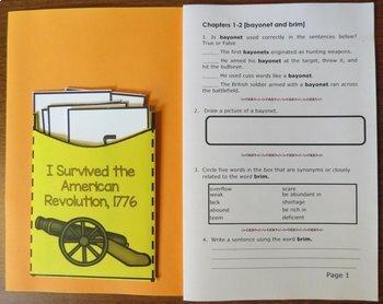 I Survived the American Revolution, 1776 Novel Study: vocabulary, comprehension