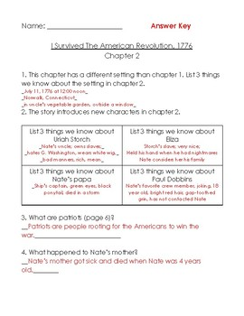 I Survived the American Revolution 1776 worksheets (ch 1-5)