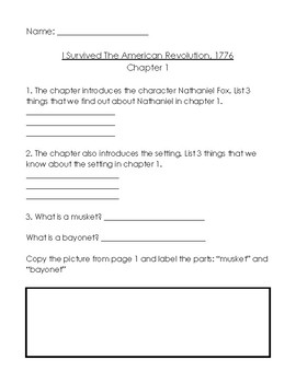 I Survived the American Revolution 1776 worksheets (all chapters 1 - 18)
