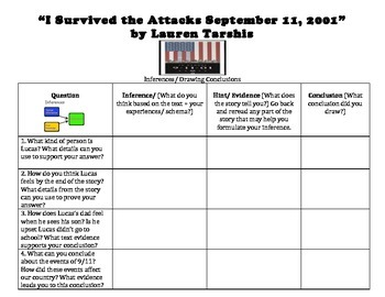 """""""I Survived the Attacks September 11, 2001"""" by Lauren Tarshis Inference Chart"""