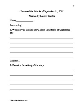 I Survived the Attacks of 9/11/2001 by Lauren Tarshis Comprehension Question