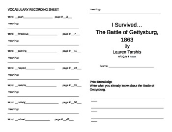 I Survived the Battle of Gettysburg Literature Unit