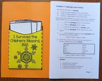 I Survived the Children's Blizzard, 1888 Novel Study: vocabulary, comprehension