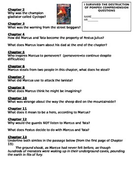 I Survived the Destruction of Pompeii Comprehension Questions