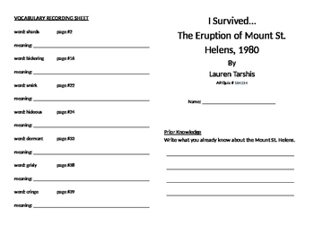 I Survived the Eruption of Mount St. Helens, 1980 Literature Unit
