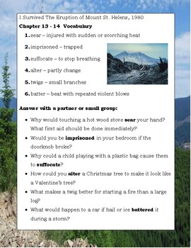 I Survived the Eruption of Mount St. Helens, 1980 Reading Novel Study Guide