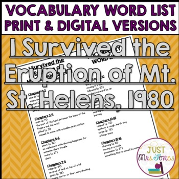 I Survived The Eruption of Mount St. Helens, 1980  Vocabulary Word List