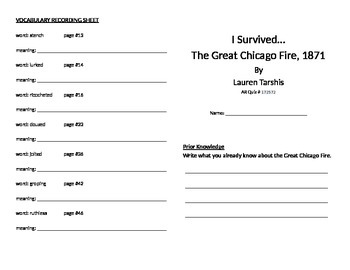 I Survived the Great Chicago Fire, 1871 Literature Unit