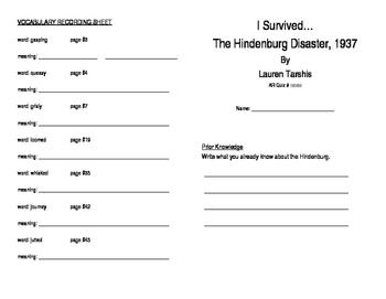 I Survived the Hindenburg Disaster, 1937 Literature Unit