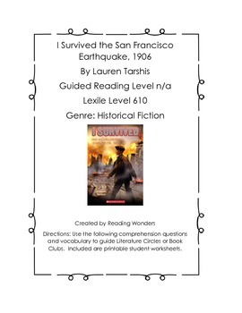 I Survived the San Francisco Earthquake, 1906 Book Club