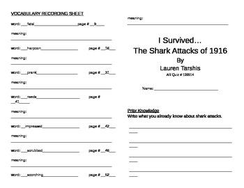 I Survived the Shark Attacks of 1916 Literature Unit