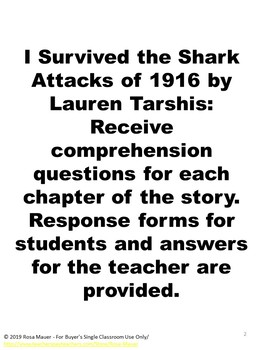 I Survived the Shark Attacks of 1916 Book Study