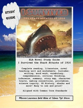I Survived the Shark Attacks of 1916, Tarshis Novel Study Guide US History