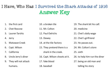 I Survived the Shark Attacks of 1916 I Have Who Has Reading Comprehension